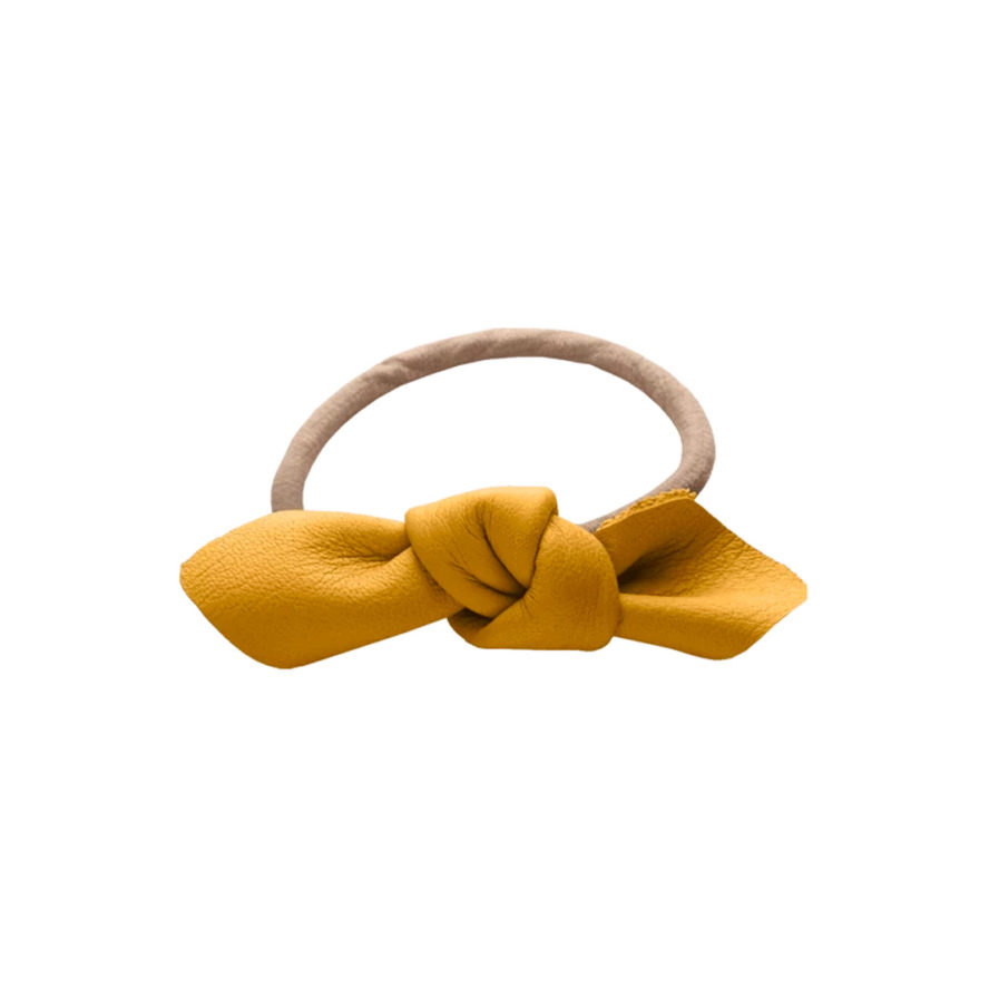 Corinne Leather Bow Small Hair Tie